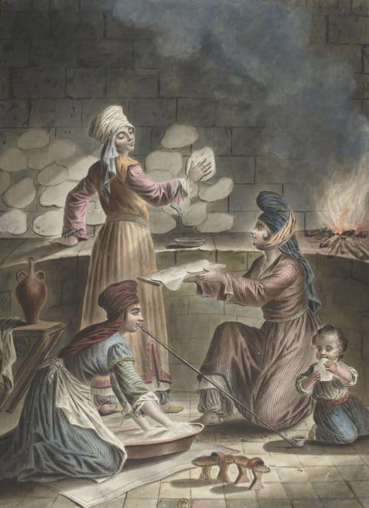 maleri av syriske kvinner, malt av Francois Marie Rosset i 1790. Arkiv: wikimedia